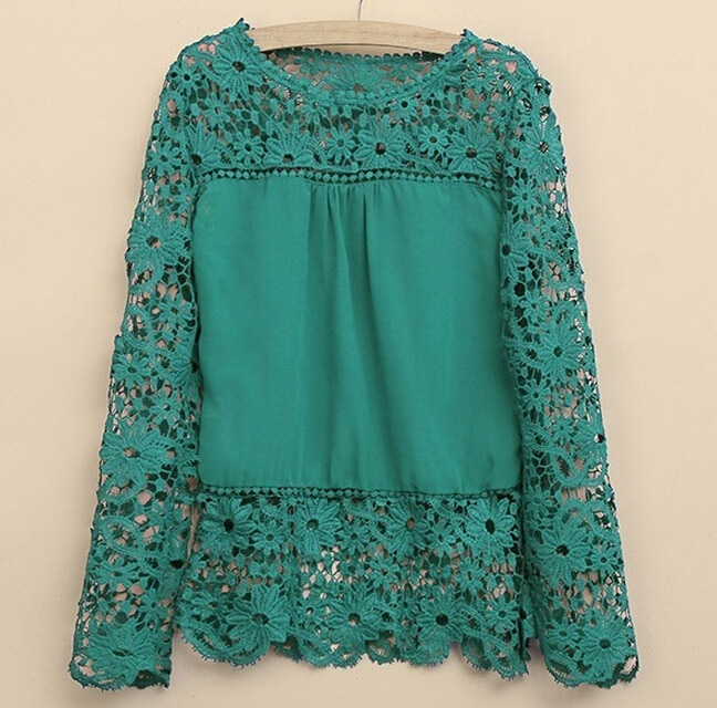 Plus Size 4XL 5XL 2015 new Spring Autumn  women long-sleeved chiffon blouse hollow flower Lace Blouse Shirt Crochet Tops
