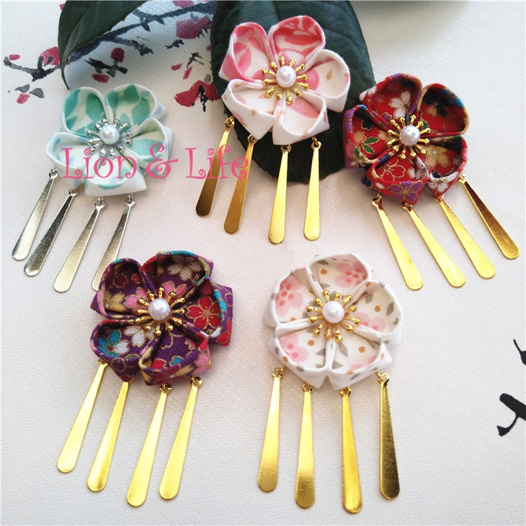 Японский головной убор с цветами Yukata Geisha, заколка для волос с кисточками