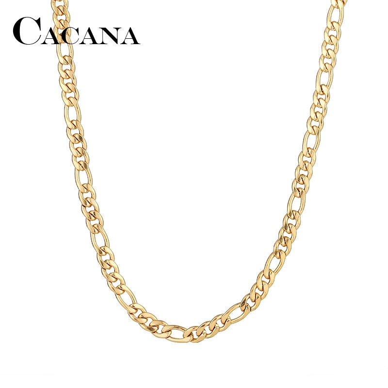 CACANA Stainless Steel Chain Necklaces For Man Women Gold Silver Color For Pendant Flat Donot Fade J