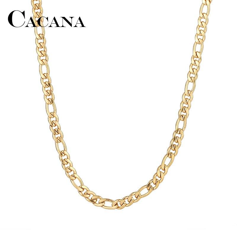 Collares de cadena de acero inoxidable CACANA para hombre y mujer, Color dorado y plateado, para colgante plano, joyería N1910
