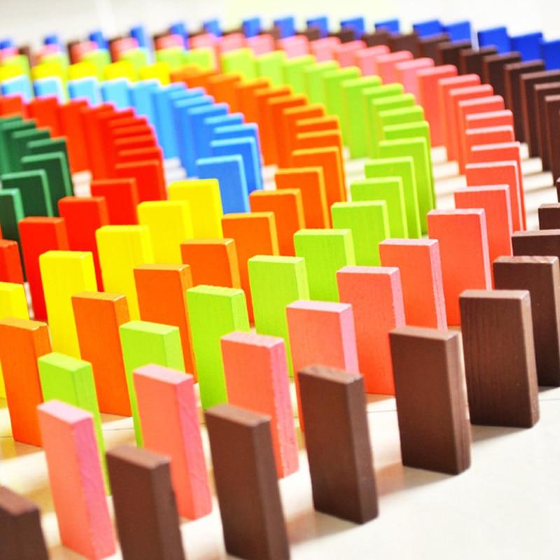 120 pièces/ensemble de couleur en bois domino blocs jeux amusants enfants éducation précoce amusant Montessori jouet jouets éducatifs cadeau