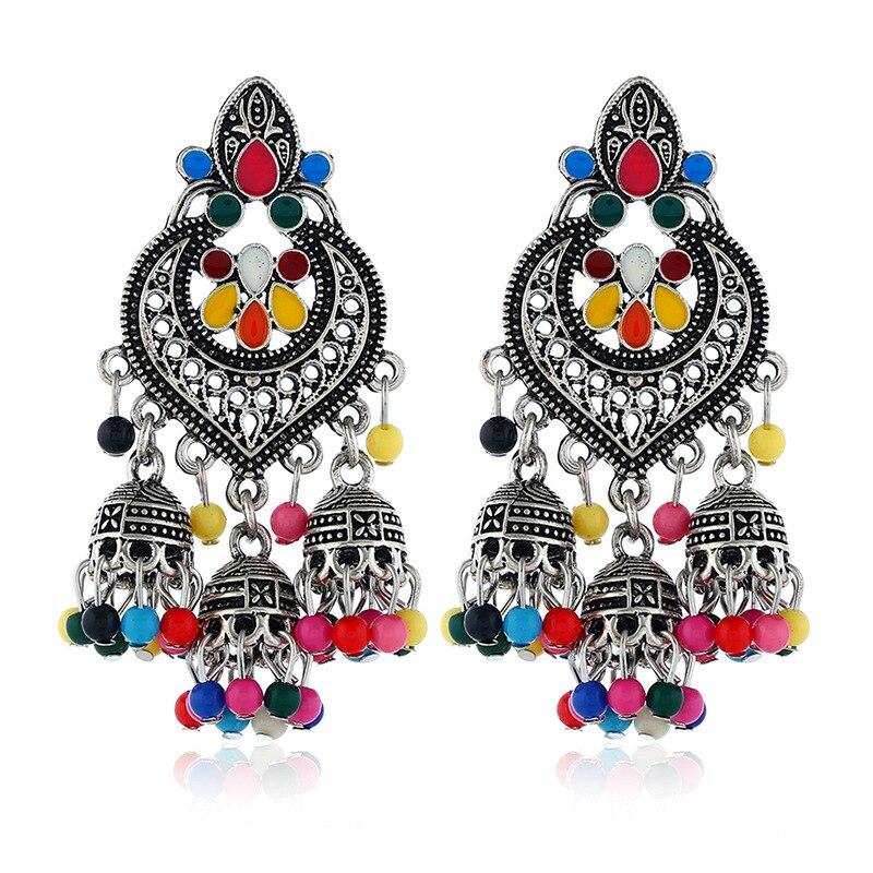 Afghan India Middle East Golden Birdcage Statement Earrings Big Resin Long Tassel Drop Ears Tribal Egypt Nepal Gypsy Jewelry