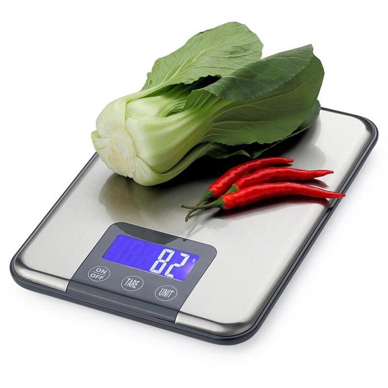 Báscula Digital de cocina de 15KG 1g con pantalla táctil, balanza de peso para alimentos grandes de 15kg, báscula electrónica delgada de acero inoxidable