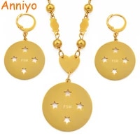 anniyo fsm micronesia flag pendant beads necklace earrings sets stainless steel for women ethnic jewelry patriotic gift 097621