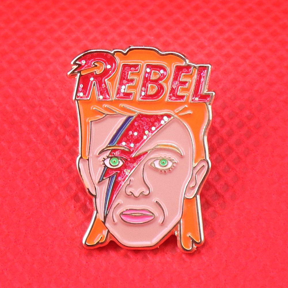 Rebel enamel pin David Bowie inspired glitter badge ziggy pins lightning brooch music art jewelry artist Bowie fans gift