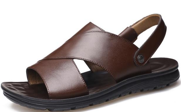 Verão de couro genuíno roma sandálias para homens ao ar livre chinelos de praia anti-deslizamento sapatos de água streetwear andando calçados casuais d371