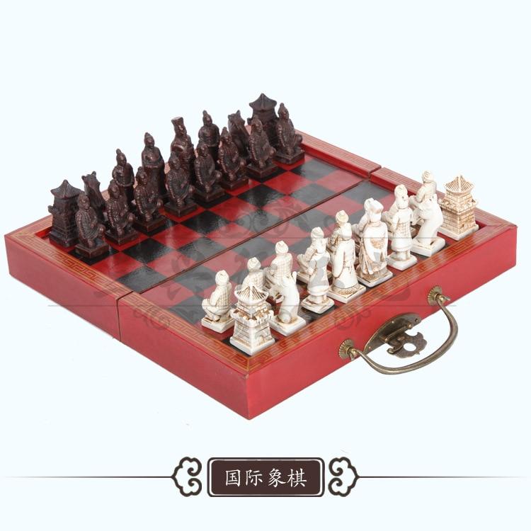 Rompecabezas de madera de guerreros de terracota Chinos clásicos, juego de mesa de ajedrez con personajes de dibujos animados
