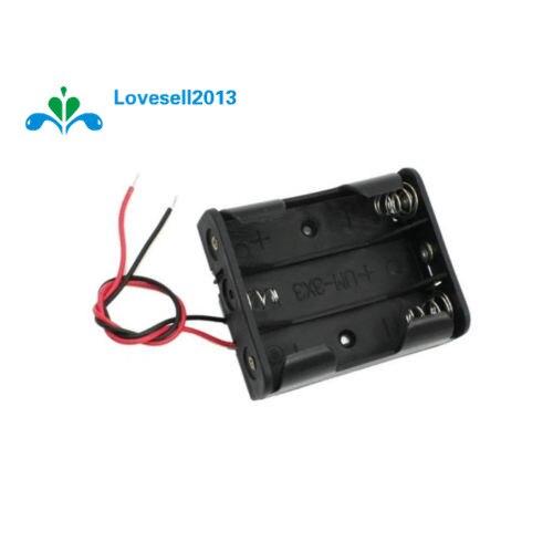 Пластиковый футляр для хранения батарей, держатель для 3 X AA 3xAA 4,5 В + провод, 1 шт.