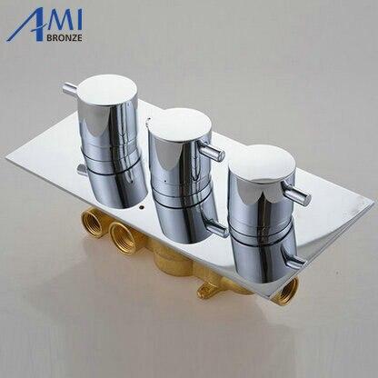 3 diales 3 vías mezclador termostático grifo latón cromado ducha Panel de válvulas con desviador grifo de baño grifo