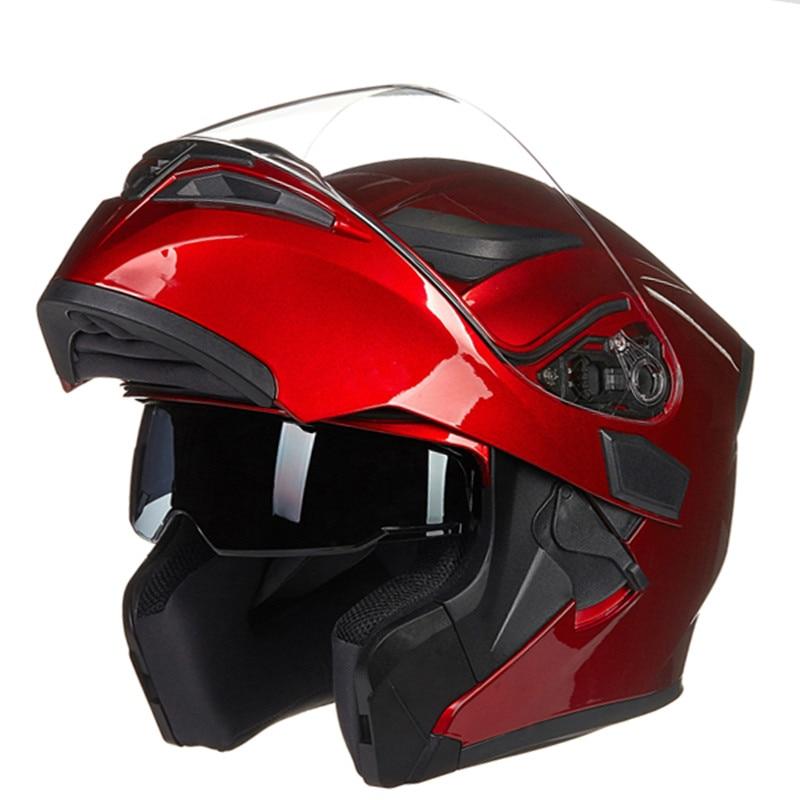 خوذة دراجة نارية قابلة للطي مع نظام عدسة مزدوج ، سباق ، طراز JIEKAI JK902 ، بطانة قابلة للإزالة وقابلة للغسل