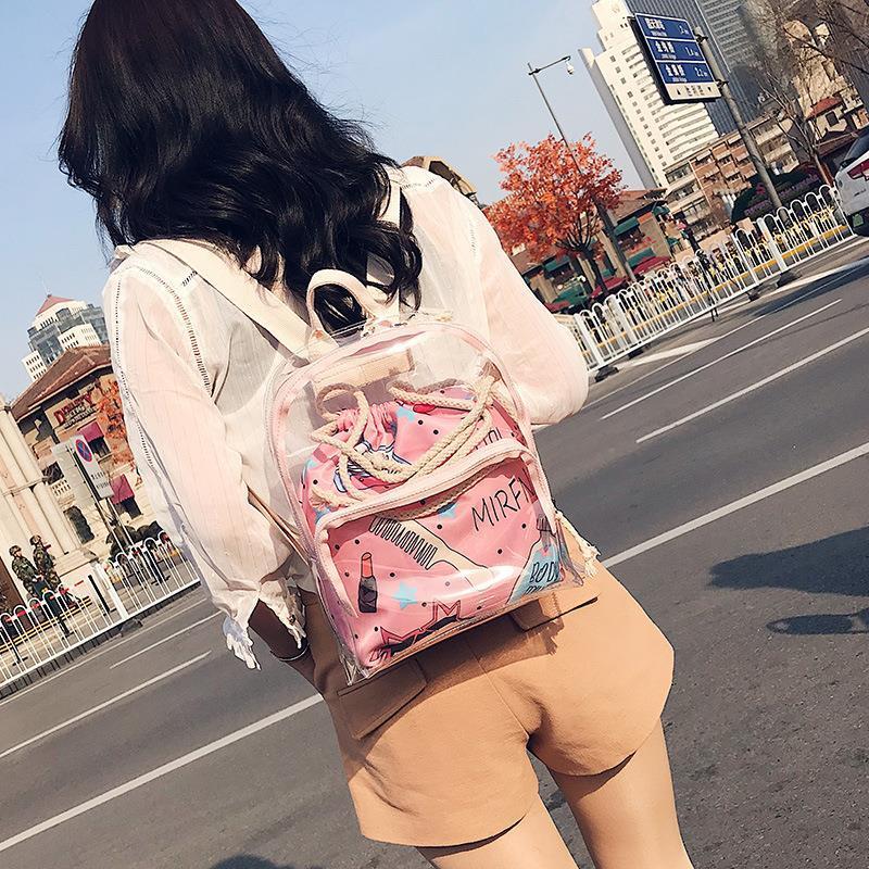 Mini mochila transparente, mochila para mujer, pequeña mochila escolar transparente para niñas y adolescentes, 2 en 1, con cremallera y cordón ajustable