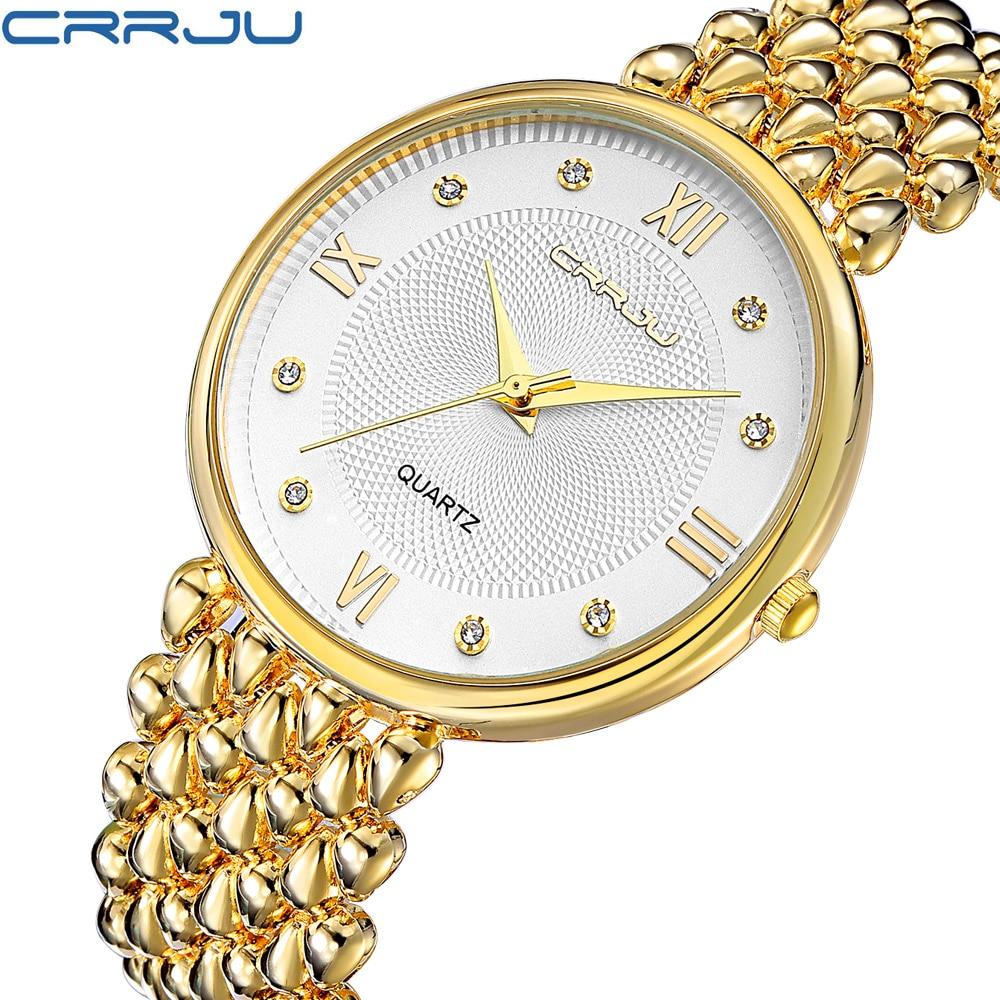 CRRJU Ladies Gold Watch Women Golden Clock Female Top Luxury Brand Women Dress Rhinestone Quartz Waterproof Watches Feminine