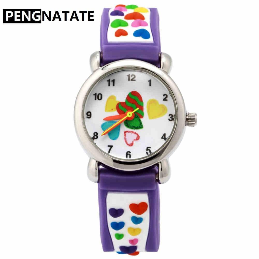 PENGNATATE Meninas Assistir Moda 3D Cinta Coração Crianças Dos Desenhos Animados Relógios Estudantes Encantadores Caçoa o Presente Pulseira de Silicone relógios de Pulso