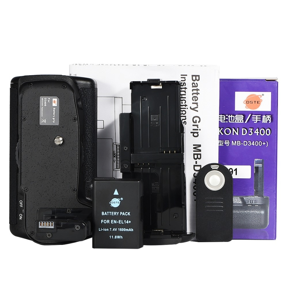 DSTE MB-D3400 Multi-Power empuñadura Vertical de la batería de la cámara Nikon D3400 Control remoto del soporte de la empuñadura de la batería con EN-EL14