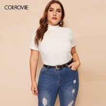 COLROVIE grande taille blanc solide col montant côtelé décontracté t-shirt femmes hauts 2019 été à manches courtes bureau dames t-shirts