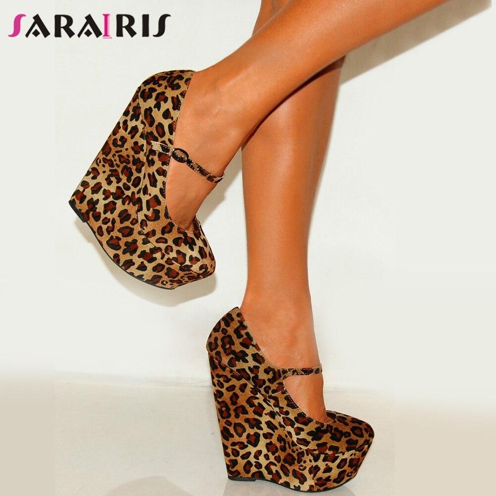 SARAIRIS 35-47 Sexy Partido Do Leopardo de Luxo de Grande Porte Mulheres Sapatos Apaixonado Quente Sapatos de Salto Alto Mulher Bombas Cunhas sapatos