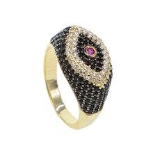 Micro pave cz preto branco olhos eua tamanho 6 7 8 9 feminino senhora clássico turco mau olho jóias anel cor do ouro