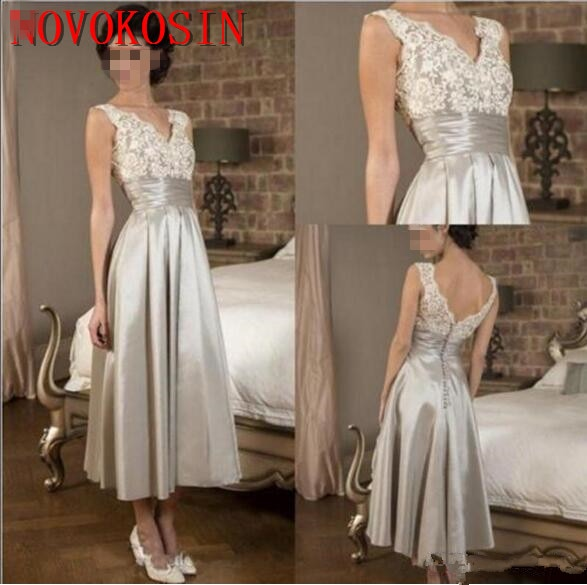 Lace Mother Of the Bride Dress 2019 Satin Sleeveless Lace V Neck Satin Evening Gown A Line Tea Lengt