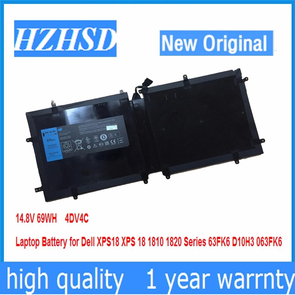14,8 V 69WH новый оригинальный 4DV4C Аккумулятор для ноутбука Dell XPS18 XPS 18 1810 1820 серии 63FK6 D10H3 063FK6