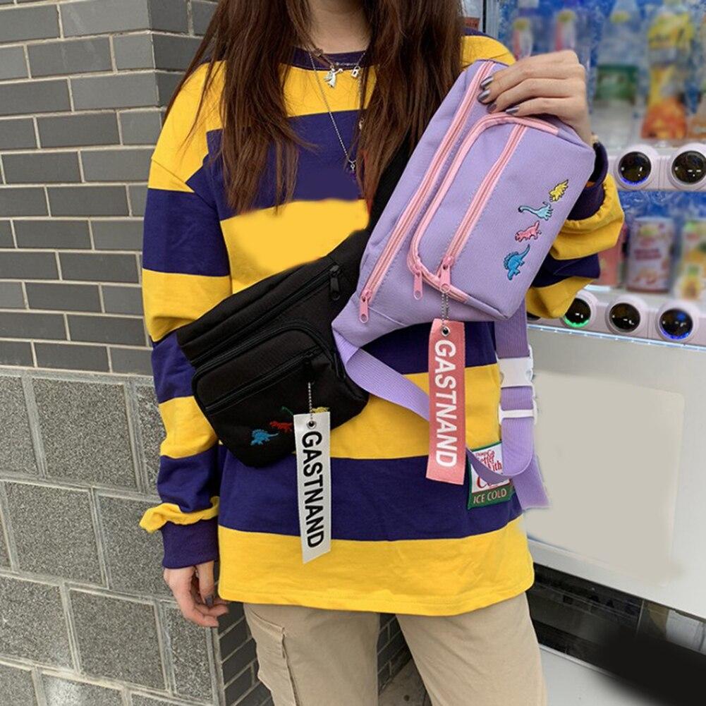 Moda Harajuku bolso de pecho de las señoras de moda Casual bordado Crossbody bolsa hip hop marca TIDE Street Trend riñonera