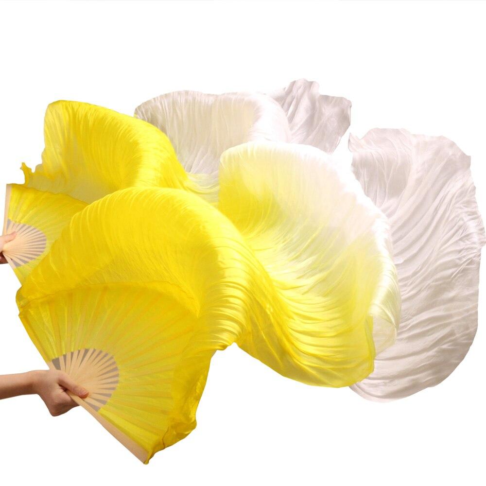 Hits 2018 Hot Selling Handmade Women Dance Fans High Quality Silk Belly Dance Fans 100% Silk Veils 1 Pair Yellow + White 180*90