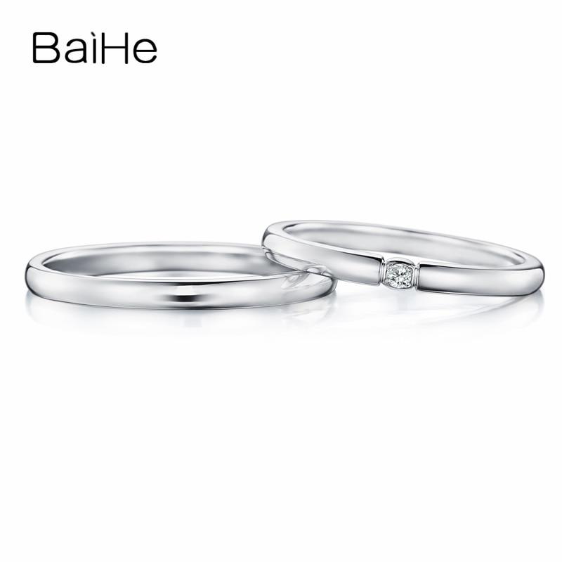 BAIHE الصلبة 18K الذهب الأبيض 0.04CT H/SI جولة الماس الطبيعي المشاركة المرأة خاتم رجل خاتم العصرية الجميلة مجوهرات زوجين خاتم