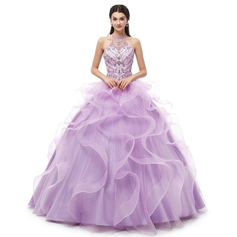 Vestidos de 15 años 2019 dulce 15 vestidos de quinceañera Lila vestidos cuello Halter vestido de fiesta falda volantes fotos reales