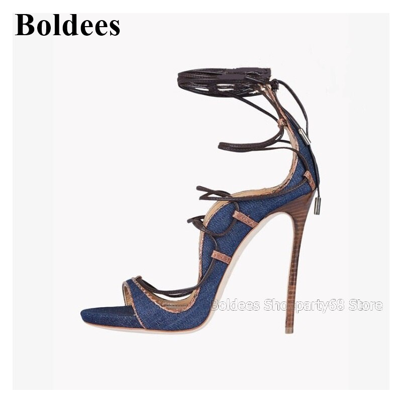 Designer Blue Denim Jeans High Heel Sandals Woman Shallow Mouth Narrow Band Lace Up Cut-out  Summer European Party Dress Shoe