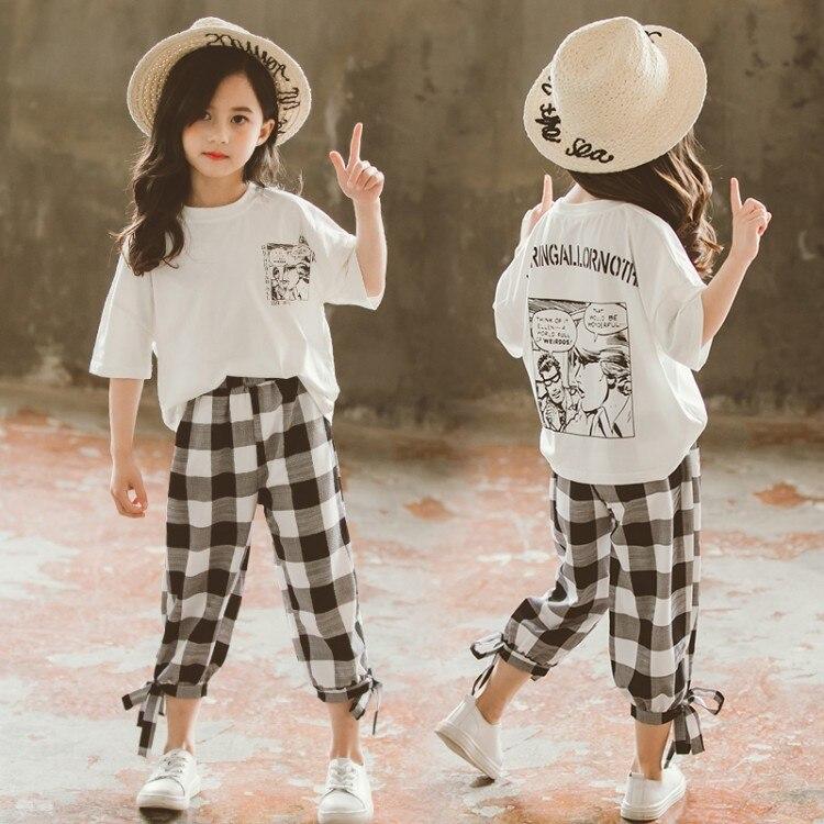 Ropa para Niñas, conjunto de ropa de verano 2019 para niños, camiseta para niños + pantalones Capri a cuadros de 3 a 13 años