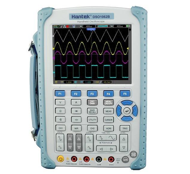 Hantek DSO1062B 2 canales multímetro Digital Osciloscopio de banda de 60Mhz LCD USB portátil de Osciloscopio 6000 cuenta DMM