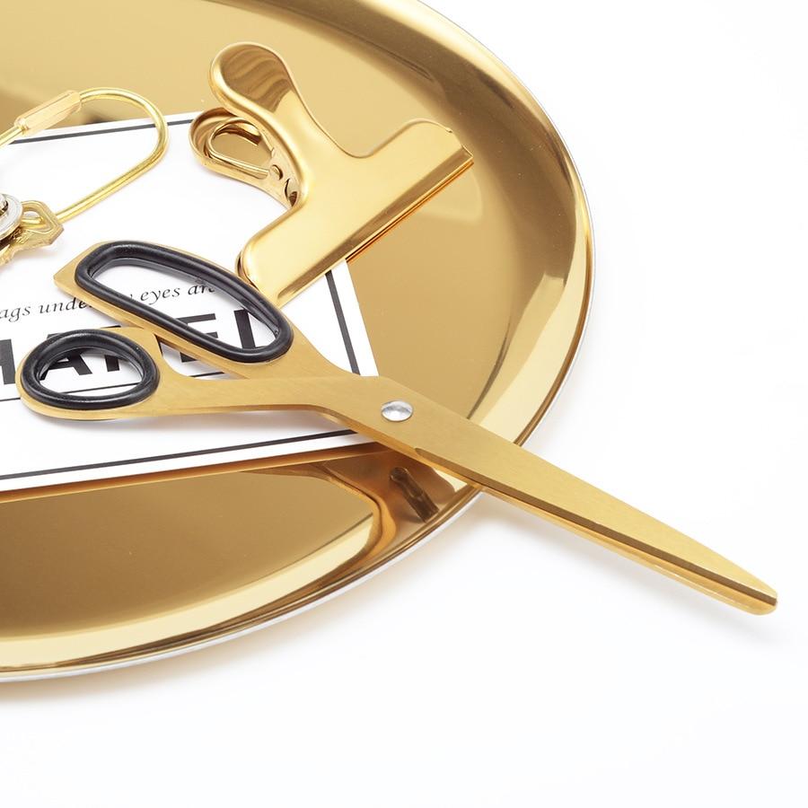 Dokibook golden brass school scissors asymmetric scissors minimalist design office household scissors Kawaii korean stationery golden brass summit fiesta mania