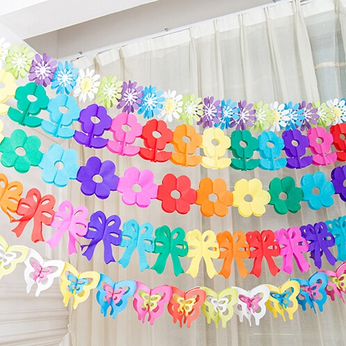 Zilue 5pcs/lot Home Garden decoration paper garland Birthday party flowers Children's Day suppliers  wedding decoration