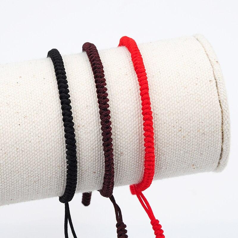 Nueva joyería Simple tibetana religión budismo pulsera nudo de la suerte Rojo Negro café tejido hilo de cuerda pulseras de macramé Unisex