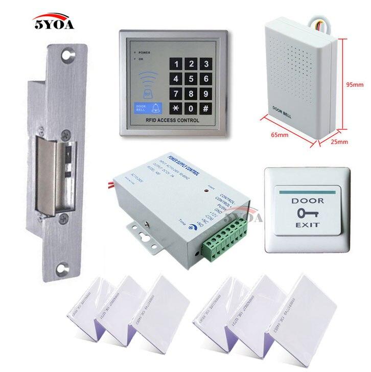 Комплект системы контроля доступа 5YOA RFID + замок двери Strike + ключ для ID-карты + Кнопка питания + кнопка выхода