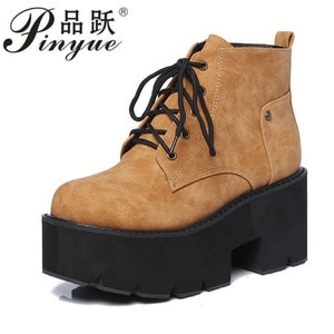 brown punk boots women ladies platform boots High Heel winter shoes motorcycle Ankle Boots waterproof snow boots lace up