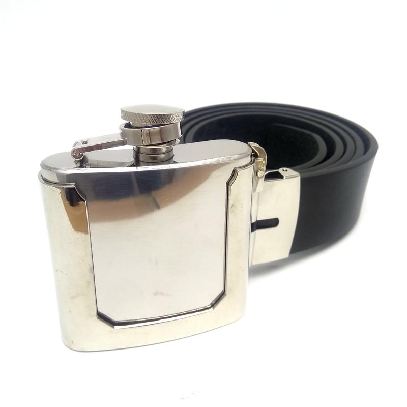Cinturones Negros de cuero Pu para hombre con termo de acero inoxidable de 2 onzas hebillas de cinturón para vaqueros accesorios de ropa para hombre Cintos Fivelas