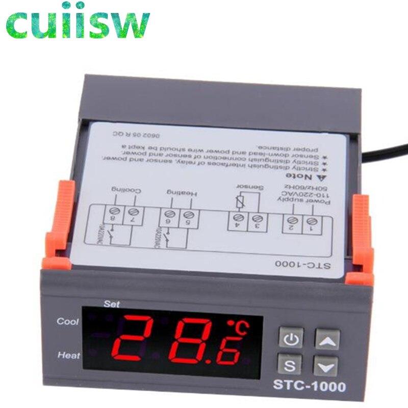 Два выхода реле светодиодный цифровой регулятор температуры термостат инкубатор STC-1000 110В 220В 12В 24В 10А с нагревателем и охладителем