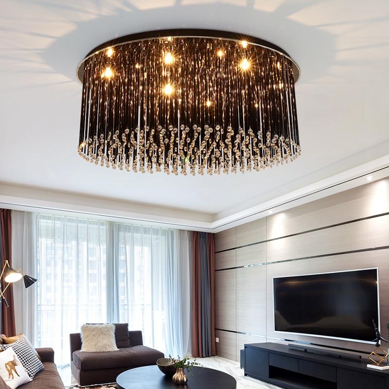 preto luminarias de teto de cristal conduziu a lampada do teto lampara techo plafondlamp