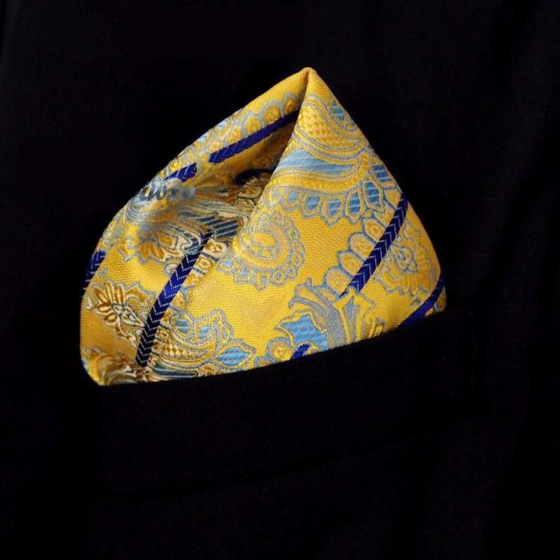 Envío Gratis pañuelo de seda amarillo azul Beige pañuelo de 100% cuadrado de bolsillo para hombre/pañuelos de fiesta/pañuelos de boda