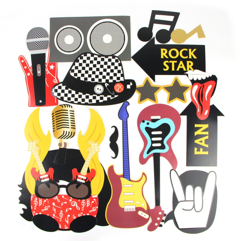 18pcs Rock Party Photo Booth Props for Birthday Party Rocker Music Theme Rock n' Roll Party Supplies