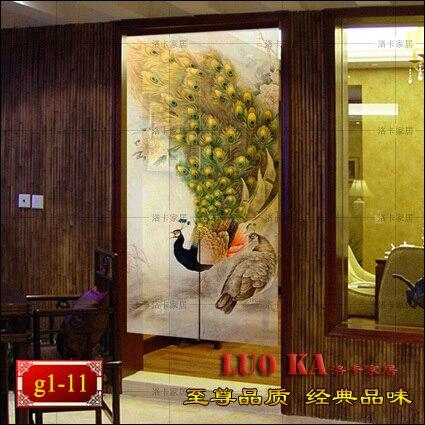 Günstige Fertigen hochwertige Chinesische malerei pfau halb shutter blackout vorhänge schattierung vorhänge benutzerdefinierte partition