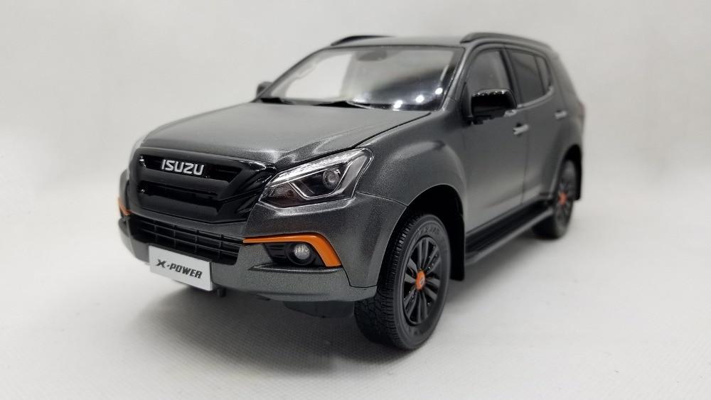 1:18 Diecast Model for ISUZU MU-X X-Power 2019 Matte Black SUV Alloy Toy Car Miniature Collection Gifts MUX MU X