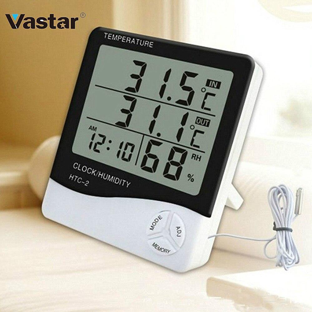 Vastar electrónico LCD Digital medidor de humedad Temperatura de interior al aire libre termómetro higrómetro reloj de HTC-1 HTC-2