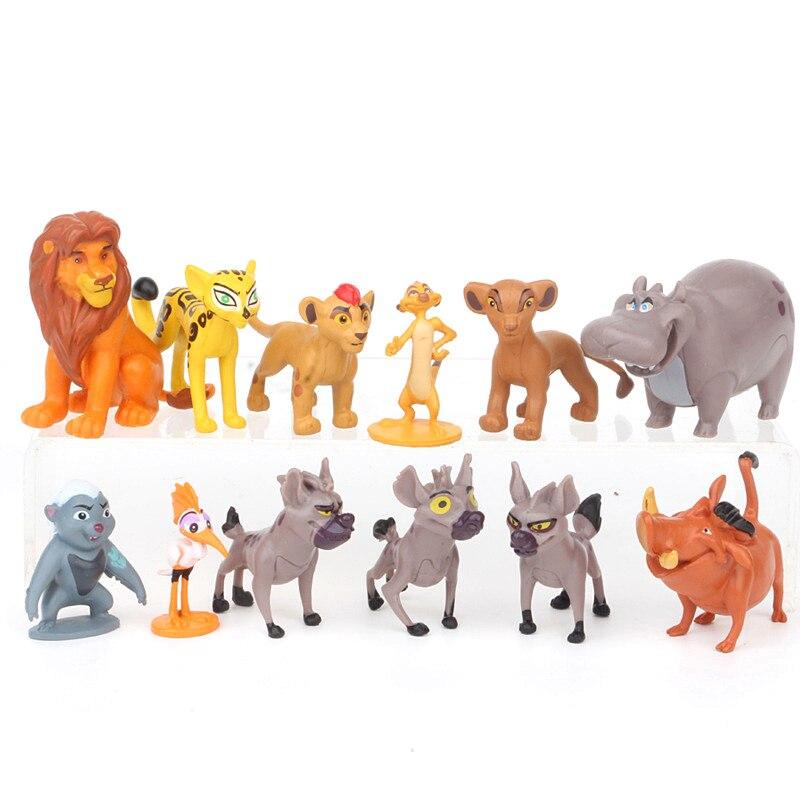 12 unids/set The Lion King juguetes de figuras de personajes animados Simba Mufasa Nala hienas Timon Pumba Sarafina cicatriz PVC figuras de acción juguetes clásicos