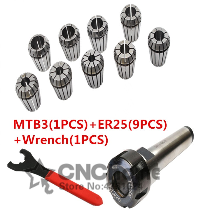 9pcs ER25 Spring Collets +1PCS ER25 Wrench+ 1PCS MT3 M12 ER25 Collet Chuck Morse Taper Holder For CNC Milling Lathe Tool