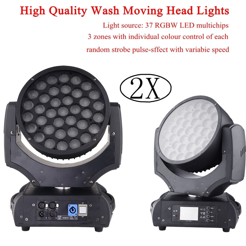 Nuevo 2XLot LED 37X15W RGBW 4 en 1 LED cabeza móvil luces efecto accesorio de luz para Fiesta de DJ discoteca escenario de bar o discoteca Luz