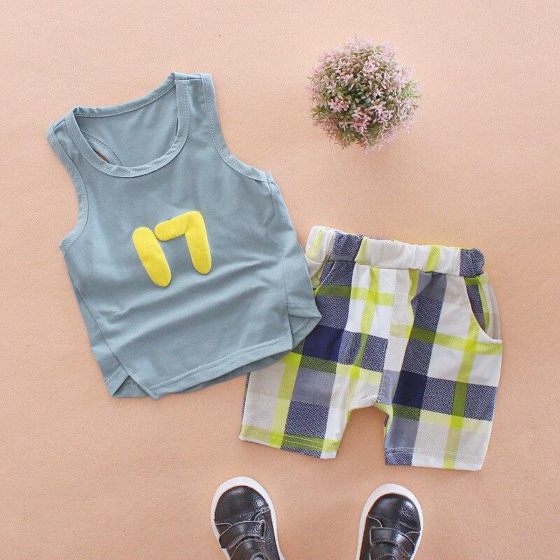 ¡Novedad! Conjuntos de ropa para bebés y niños de 2 piezas de manga corta con diseño de dibujos animados, pantalones de verano de algodón entramado DS19