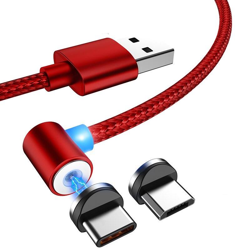 L-linha tipo c cabo de carga magnética 2.1a 90 graus micro usb c cabo para cabo usb carregador rápido ímã para samsung s9 huawei