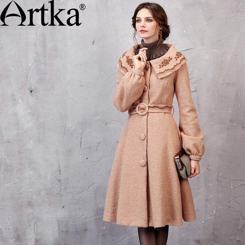 Abrigo ARTKA bordado para mujer, chaqueta de otoño 2018, abrigo cálido de invierno con cinturón, cazadora femenina, ropa de abrigo elegante para mujer WA11055Q