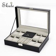 Skute 2 en un 8 grilles + 3 grilles mixtes boîte de montre en cuir PU boîte de rangement organisateur boîte bijoux de luxe collier bague écrin de montre